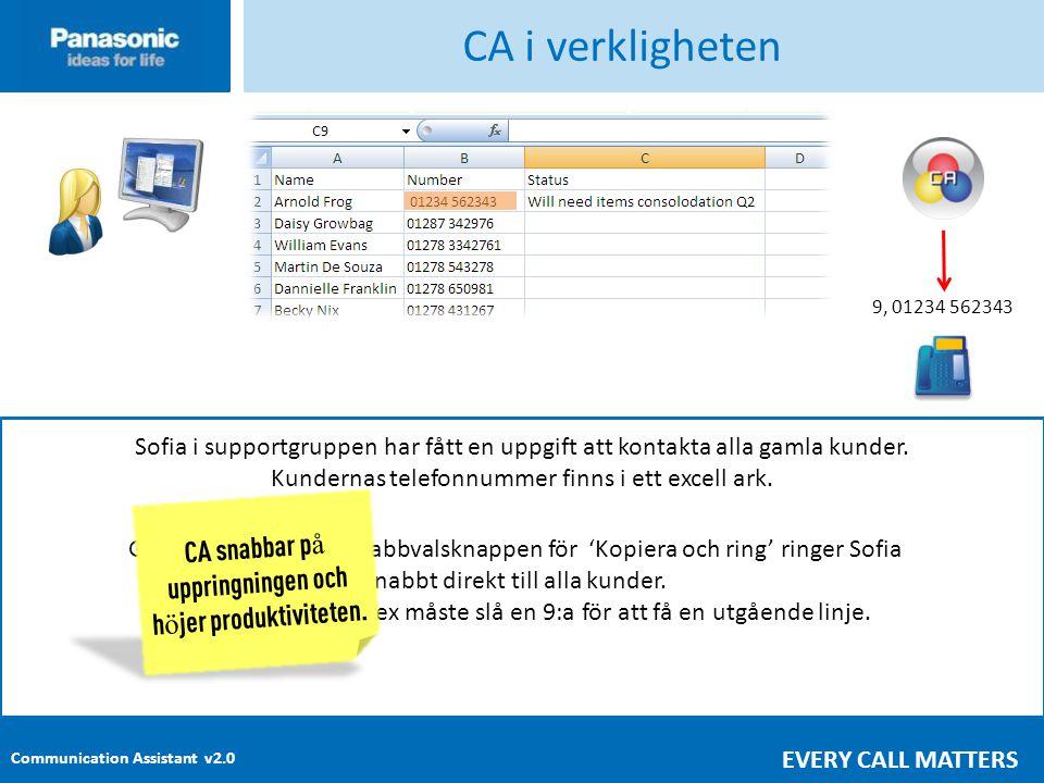 CA i verkligheten 9, 01234 562343. Sofia i supportgruppen har fått en uppgift att kontakta alla gamla kunder.