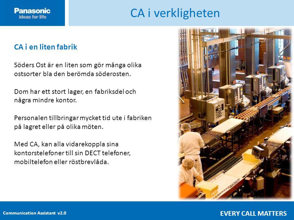CA i verkligheten CA i en liten fabrik