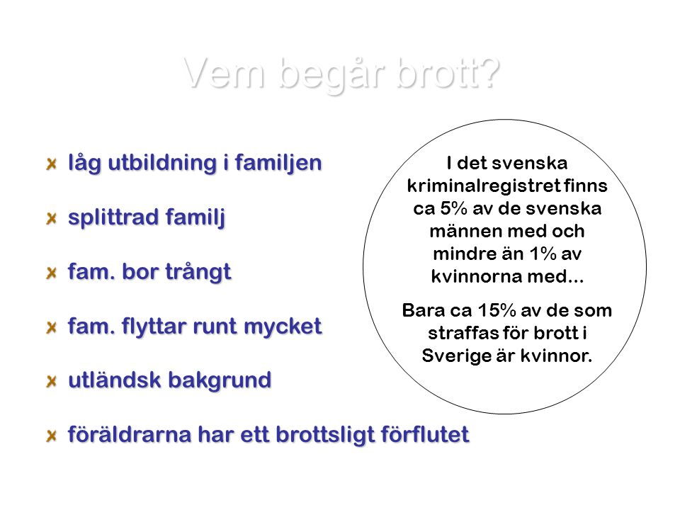 Bara ca 15% av de som straffas för brott i Sverige är kvinnor.