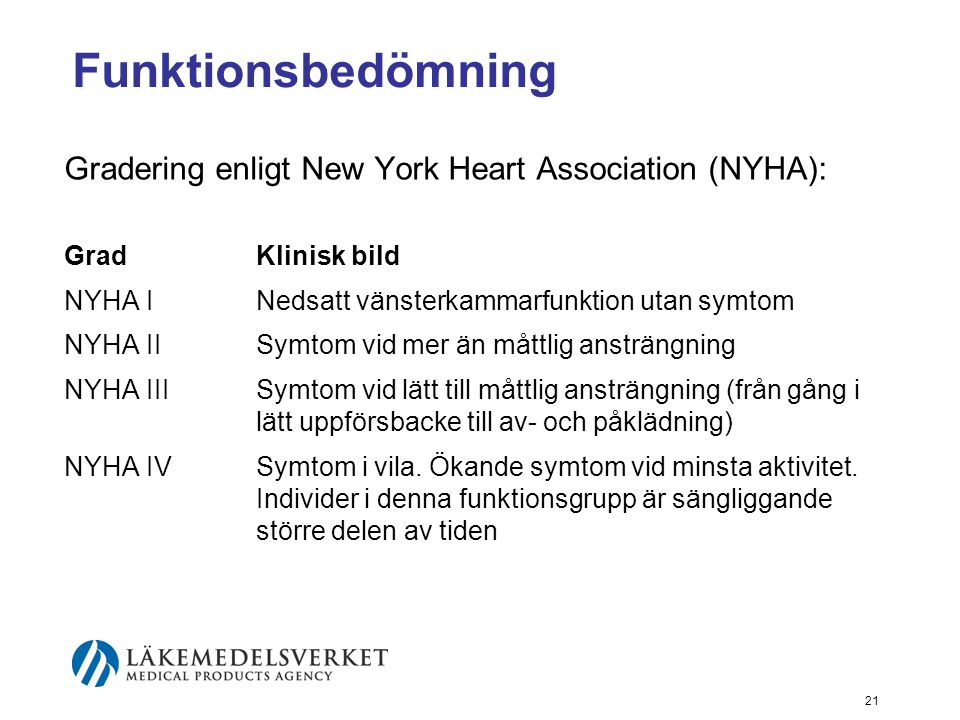 Funktionsbedömning Gradering enligt New York Heart Association (NYHA):