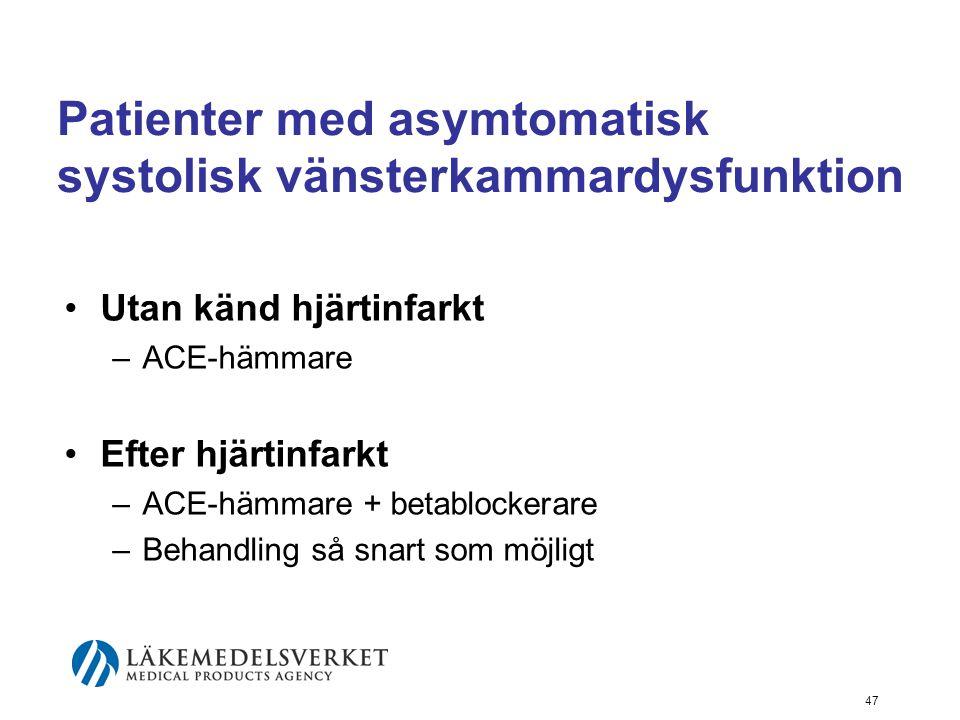 Patienter med asymtomatisk systolisk vänsterkammardysfunktion