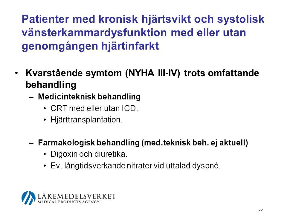 Patienter med kronisk hjärtsvikt och systolisk vänsterkammardysfunktion med eller utan genomgången hjärtinfarkt