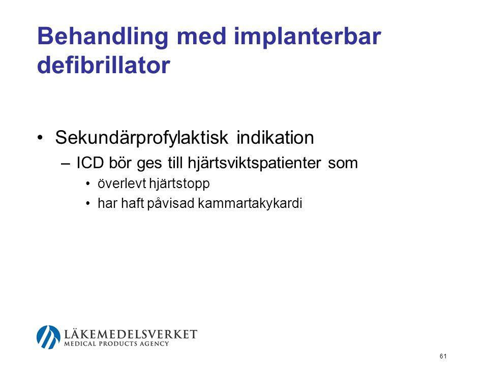 Behandling med implanterbar defibrillator