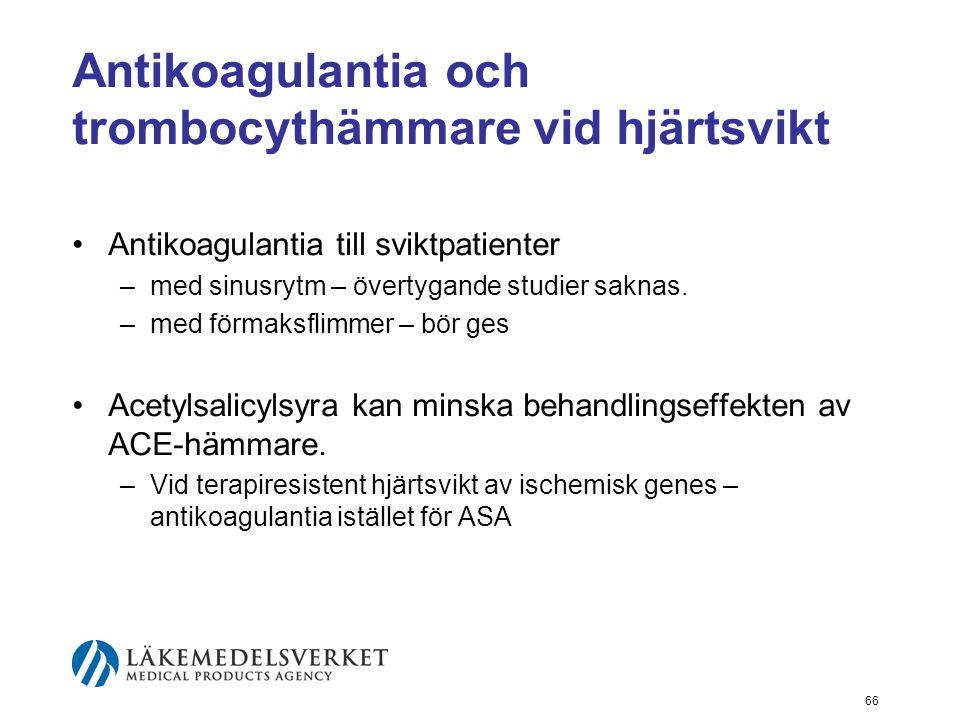 Antikoagulantia och trombocythämmare vid hjärtsvikt