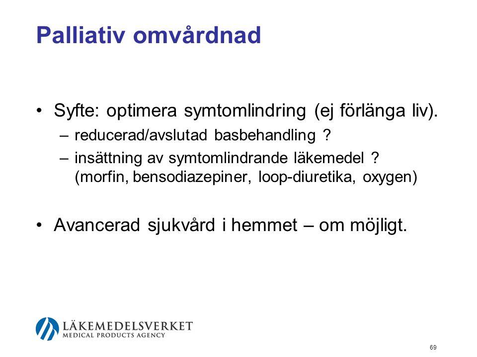Palliativ omvårdnad Syfte: optimera symtomlindring (ej förlänga liv).