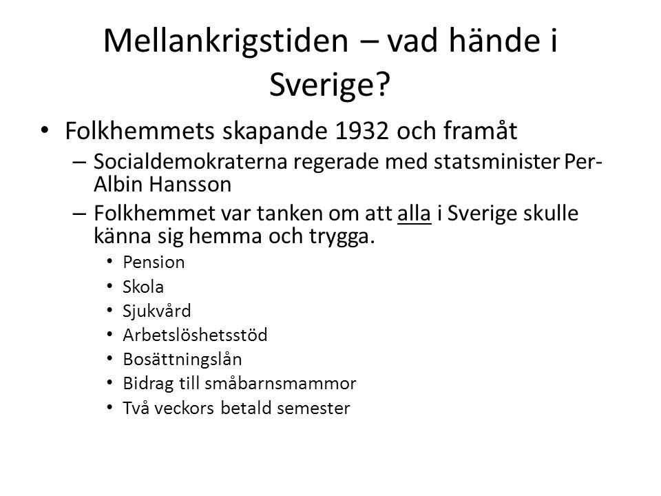 Mellankrigstiden – vad hände i Sverige