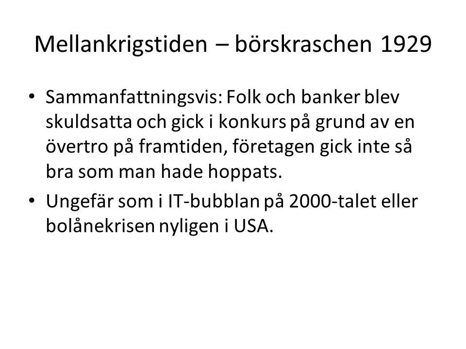 Mellankrigstiden – börskraschen 1929