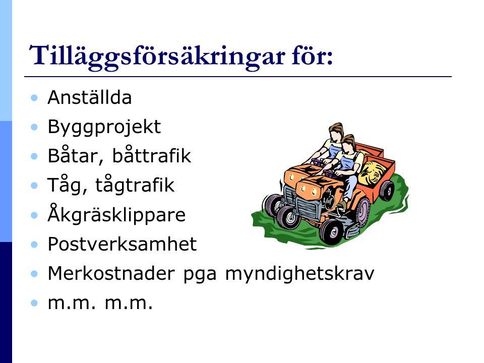 Tilläggsförsäkringar för: