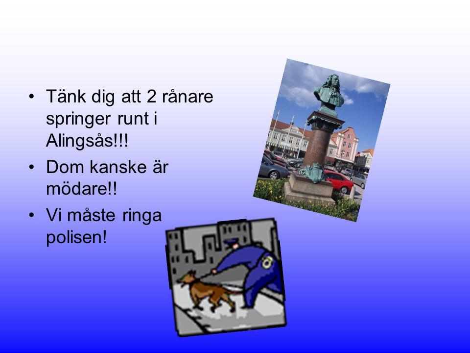 Tänk dig att 2 rånare springer runt i Alingsås!!!