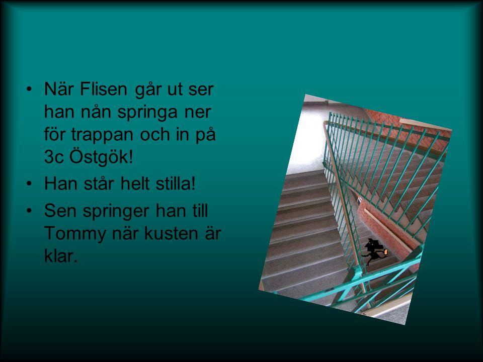 När Flisen går ut ser han nån springa ner för trappan och in på 3c Östgök!