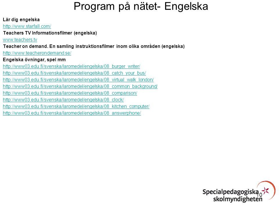 Program på nätet- Engelska
