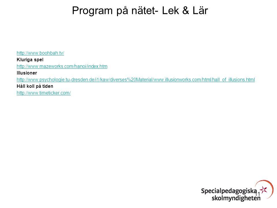 Program på nätet- Lek & Lär