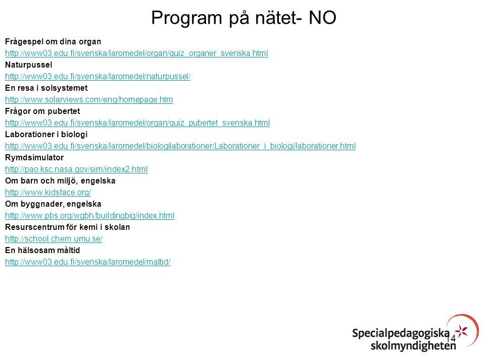 Program på nätet- NO Frågespel om dina organ