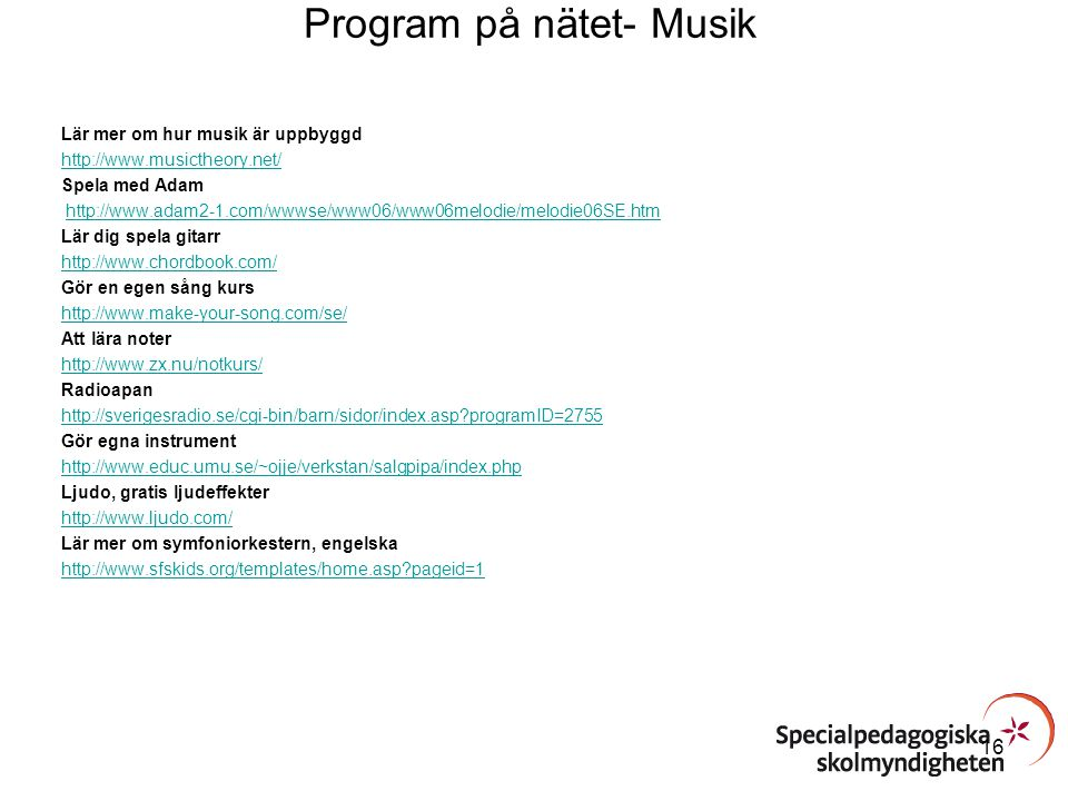 Program på nätet- Musik