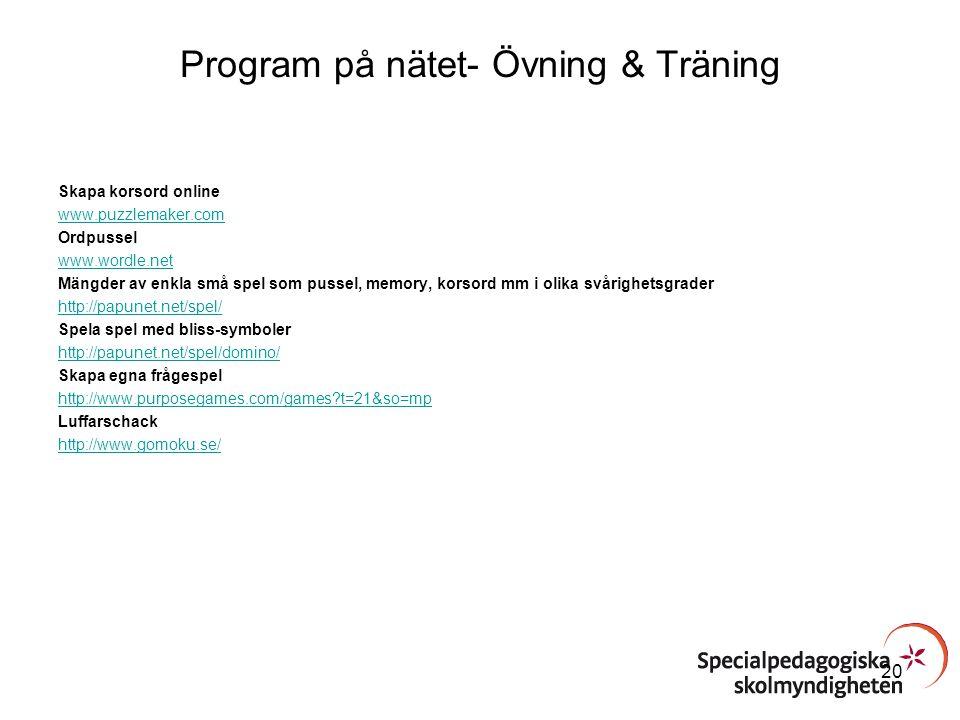 Program på nätet- Övning & Träning