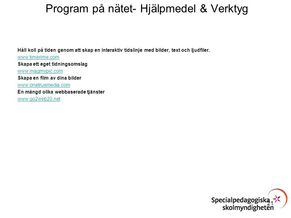 Program på nätet- Hjälpmedel & Verktyg