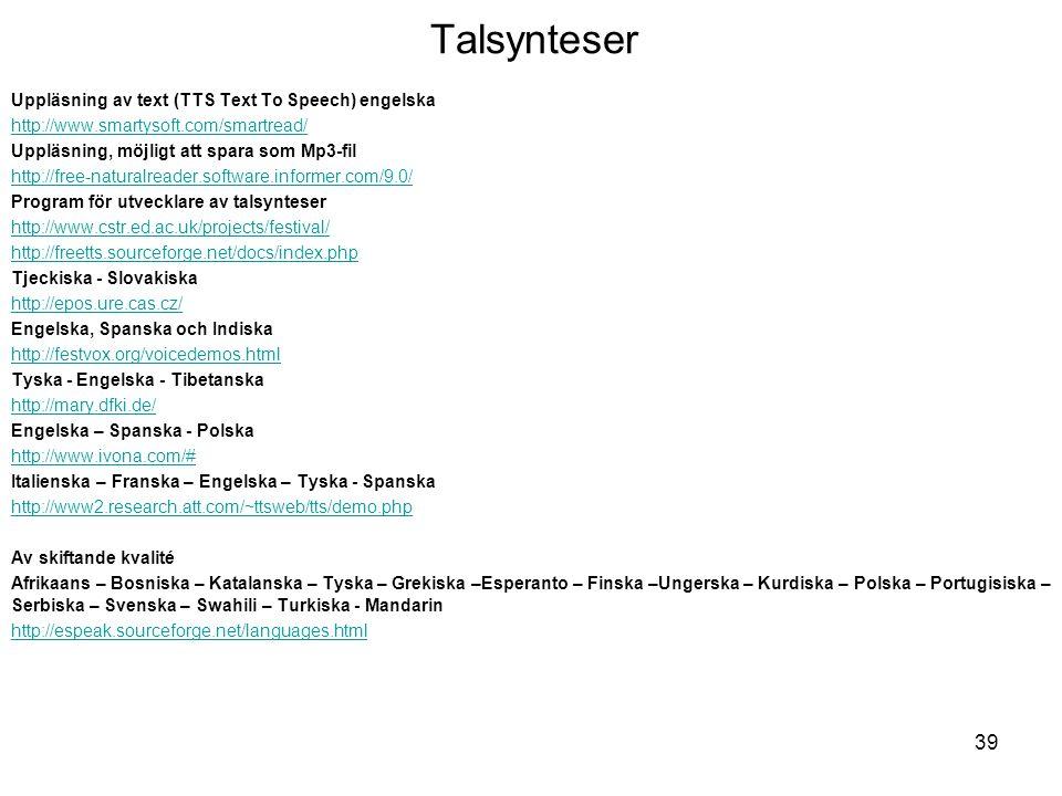 Talsynteser Uppläsning av text (TTS Text To Speech) engelska