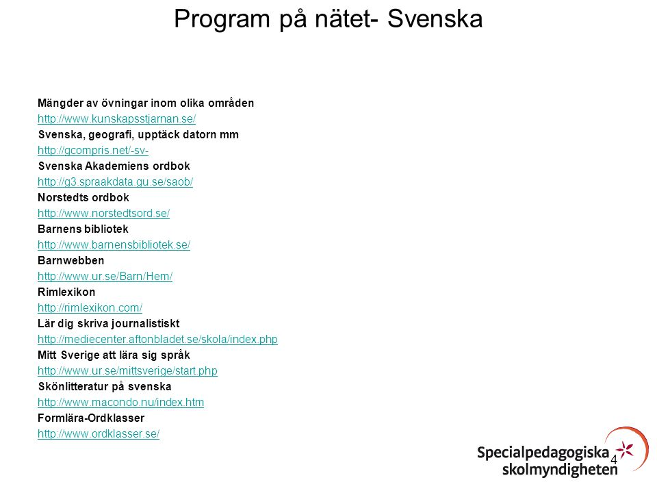 Program på nätet- Svenska