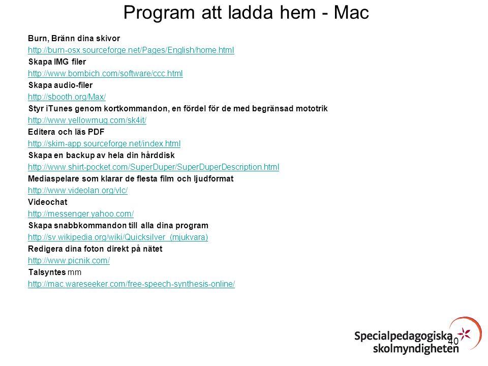 Program att ladda hem - Mac