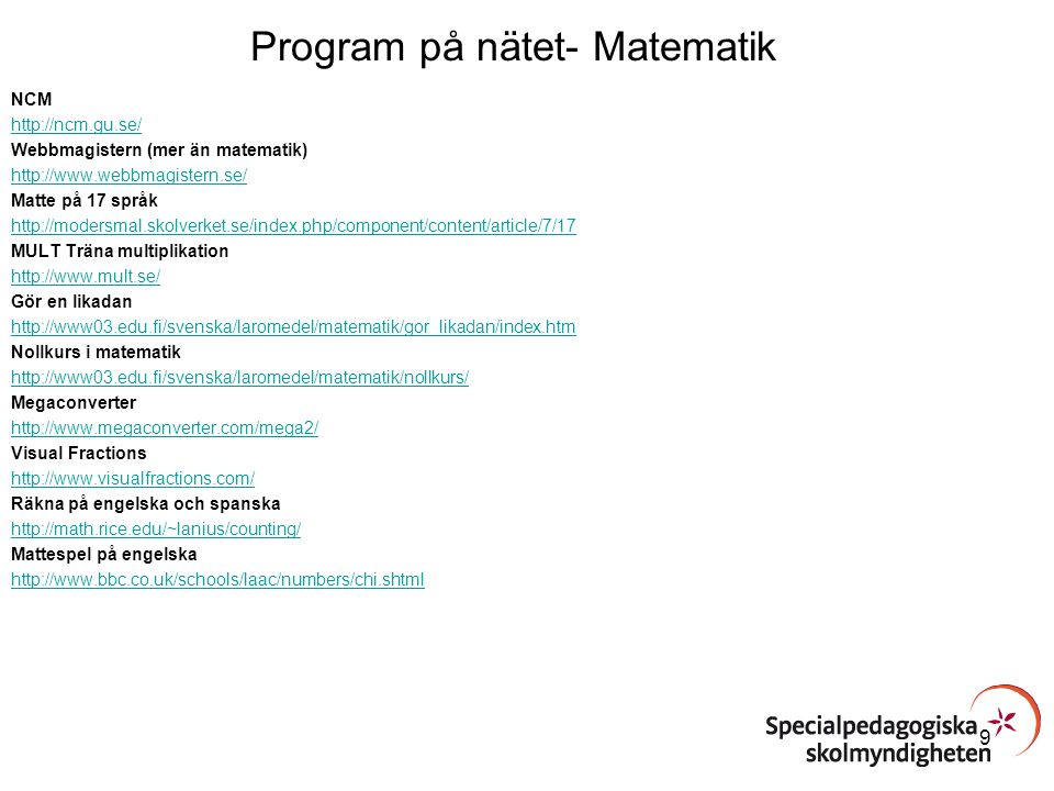 Program på nätet- Matematik