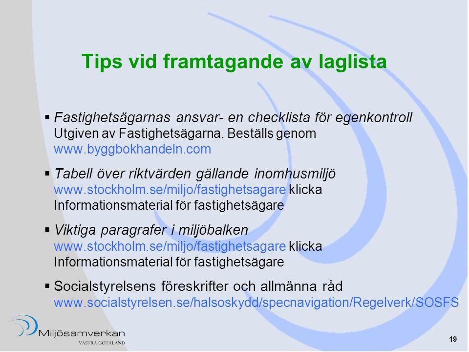 Tips vid framtagande av laglista