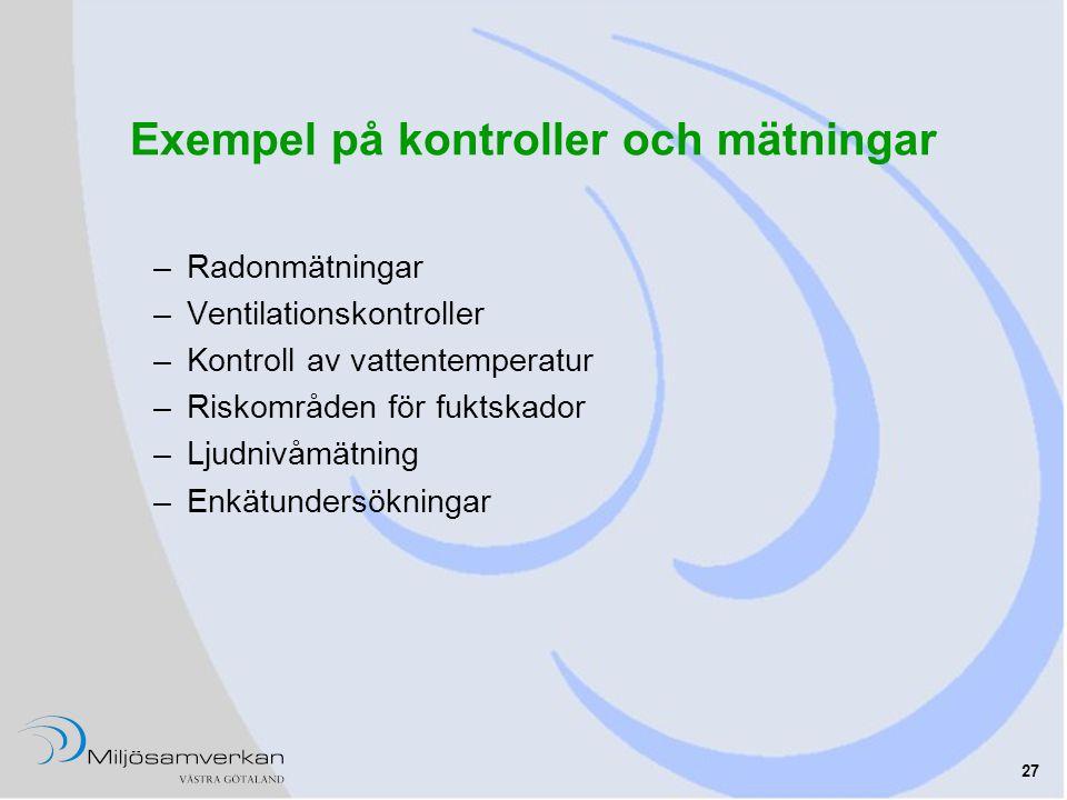 Exempel på kontroller och mätningar