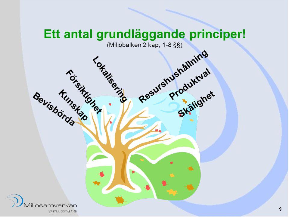 Ett antal grundläggande principer! (Miljöbalken 2 kap, 1-8 §§)