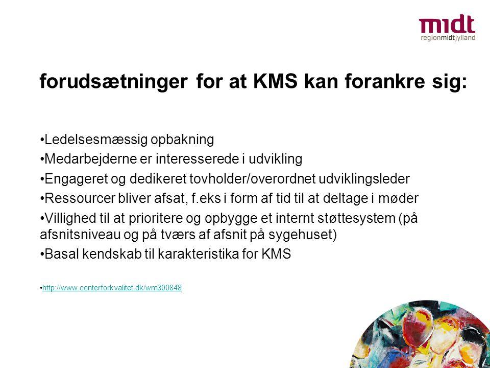 forudsætninger for at KMS kan forankre sig: