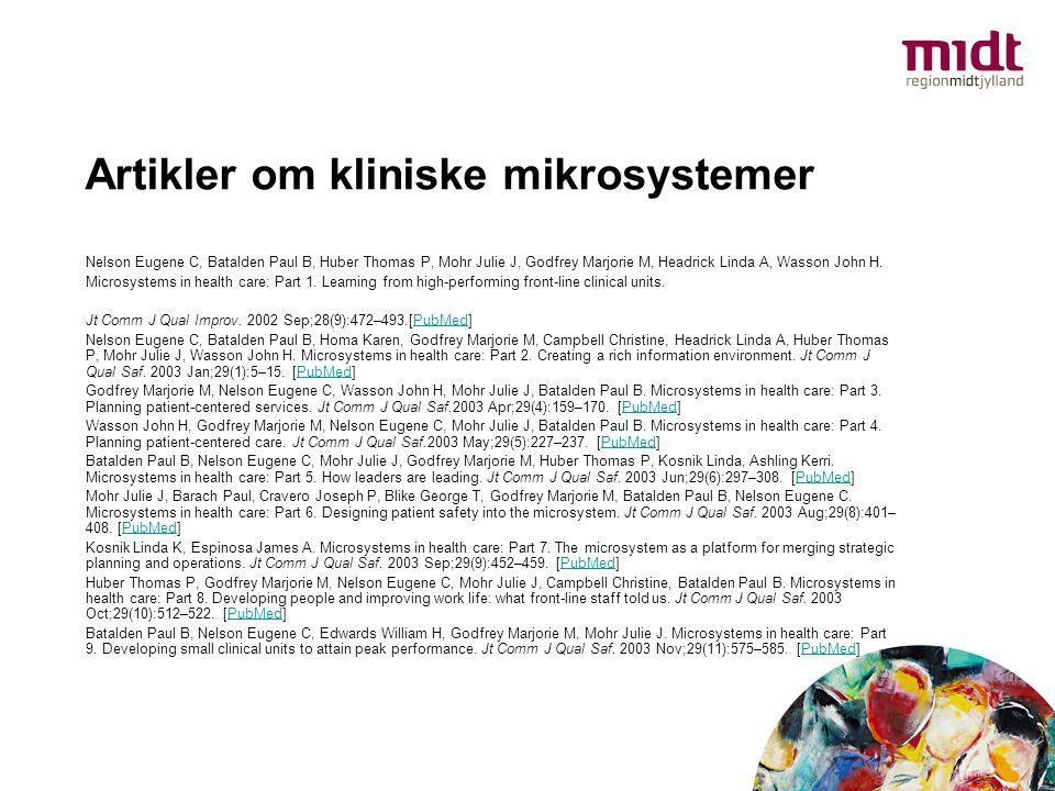Artikler om kliniske mikrosystemer