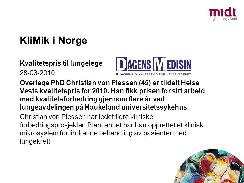 KliMik i Norge Kvalitetspris til lungelege 28-03-2010