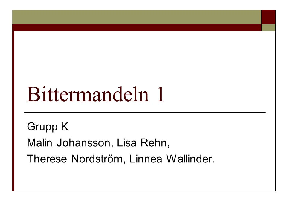 Bittermandeln 1 Grupp K Malin Johansson, Lisa Rehn,