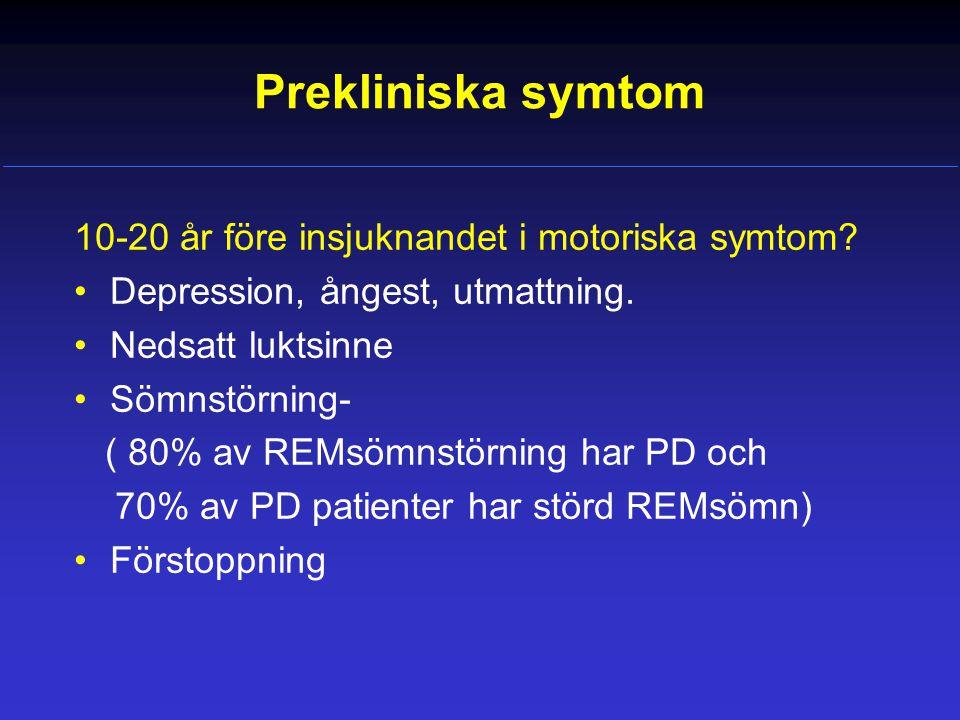 Prekliniska symtom 10-20 år före insjuknandet i motoriska symtom