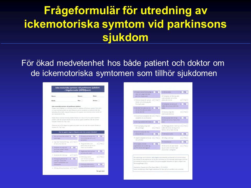Frågeformulär för utredning av ickemotoriska symtom vid parkinsons sjukdom