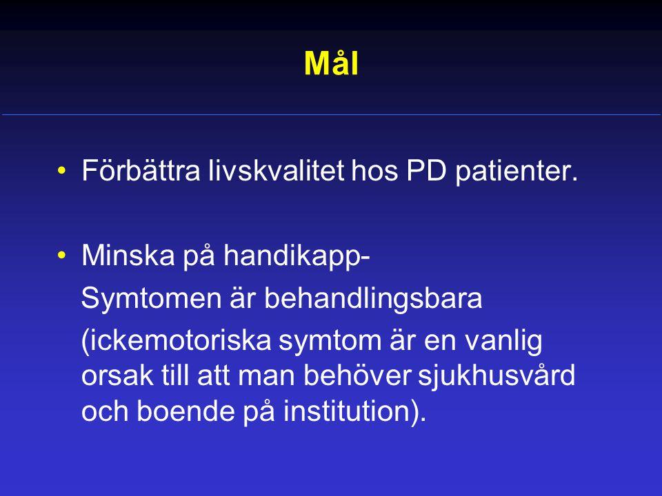 Mål Förbättra livskvalitet hos PD patienter. Minska på handikapp-