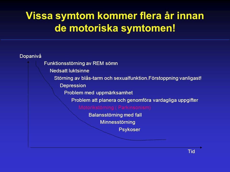 Vissa symtom kommer flera år innan de motoriska symtomen!