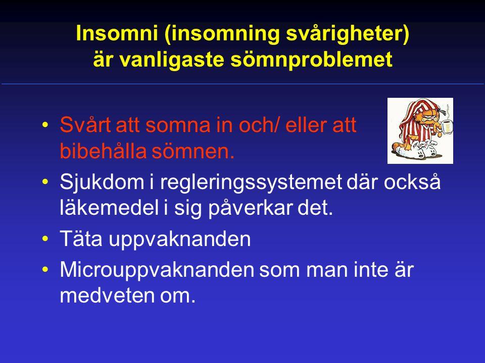 Insomni (insomning svårigheter) är vanligaste sömnproblemet