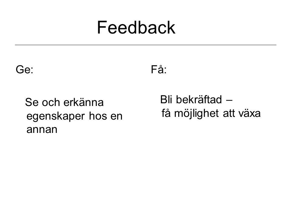 Feedback Ge: Se och erkänna egenskaper hos en annan Få: