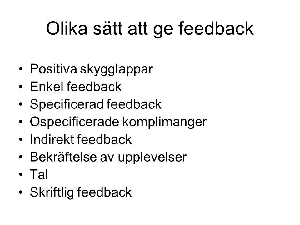 Olika sätt att ge feedback