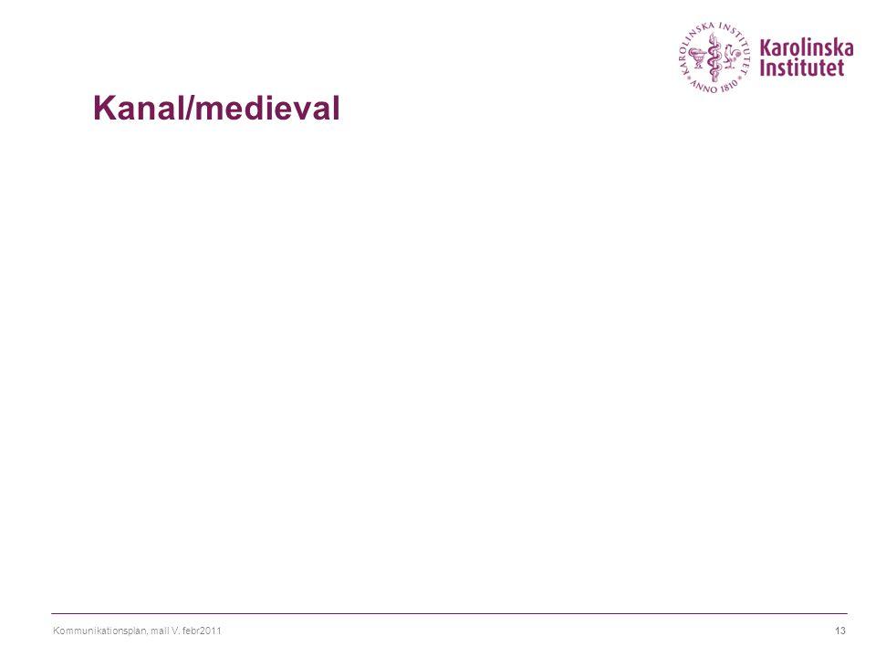 Kanal/medieval Några saker att beakta vid kanalval är Räckvidd