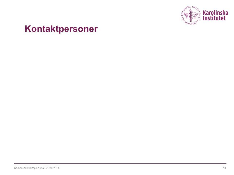 Kontaktpersoner Ange de personer (inkl kontaktuppgifter) som är inblandade i och ansvariga för kommunikationsplanen.