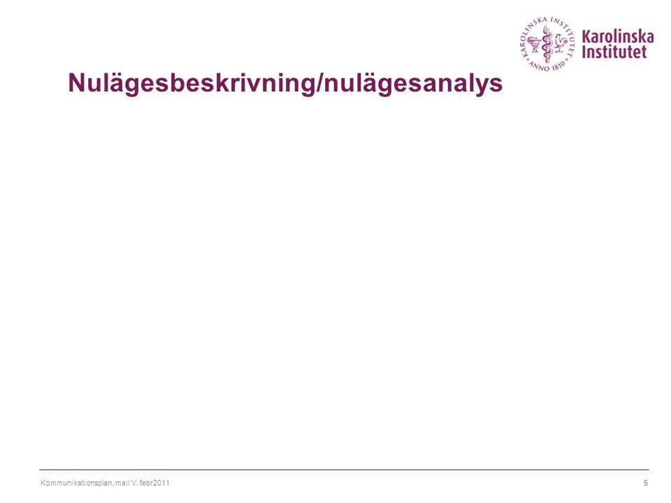 Nulägesbeskrivning/nulägesanalys
