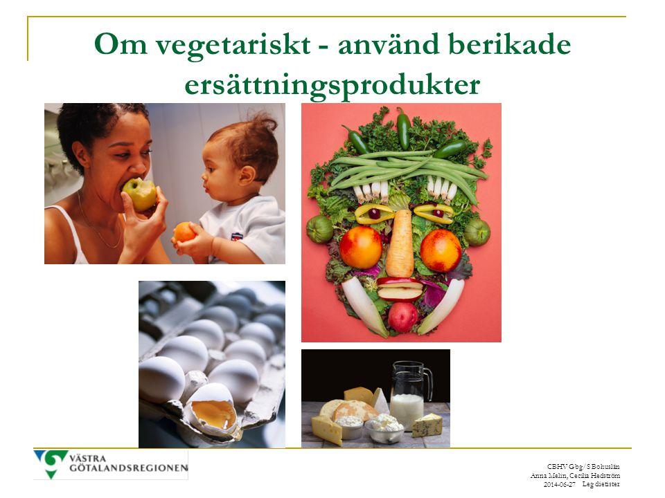 Om vegetariskt - använd berikade ersättningsprodukter