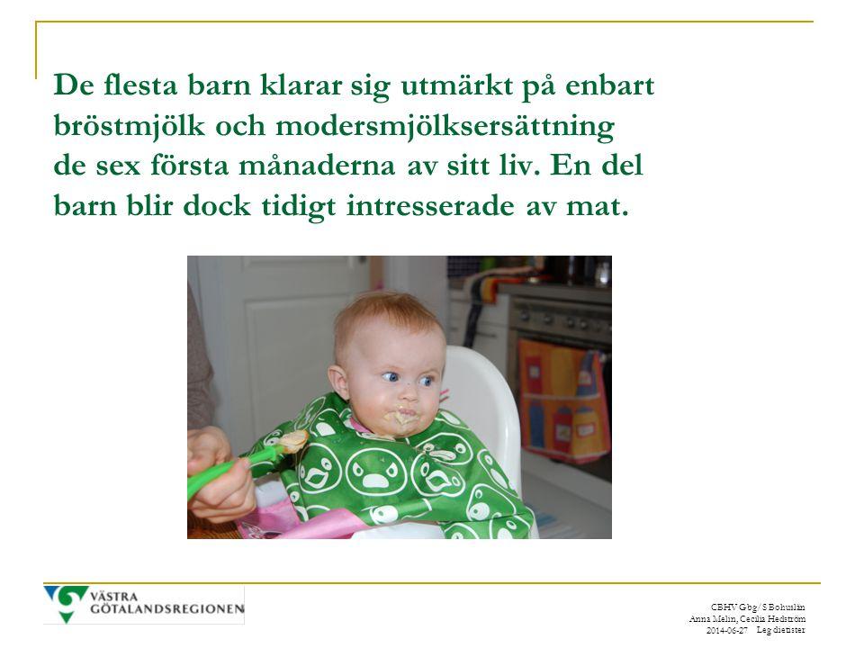 De flesta barn klarar sig utmärkt på enbart bröstmjölk och modersmjölksersättning de sex första månaderna av sitt liv. En del barn blir dock tidigt intresserade av mat.