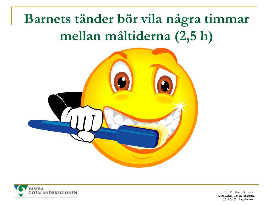 Barnets tänder bör vila några timmar mellan måltiderna (2,5 h)