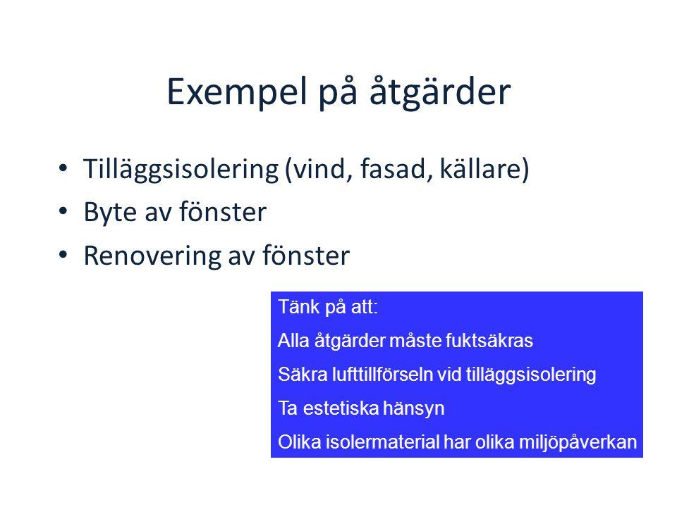 Exempel på åtgärder Tilläggsisolering (vind, fasad, källare)