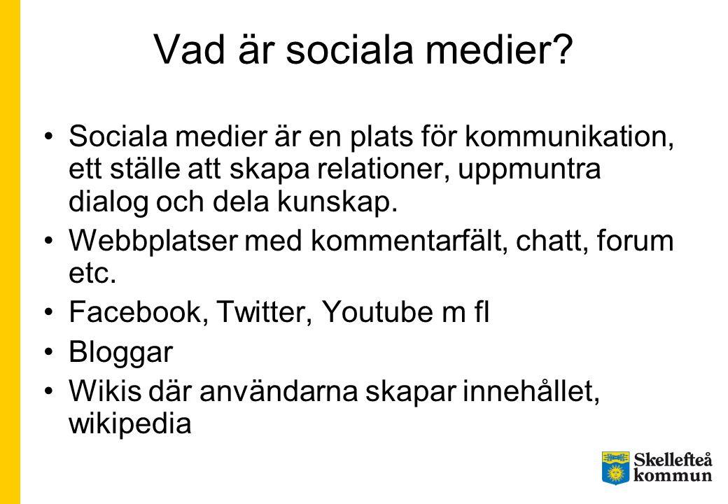 Vad är sociala medier Sociala medier är en plats för kommunikation, ett ställe att skapa relationer, uppmuntra dialog och dela kunskap.