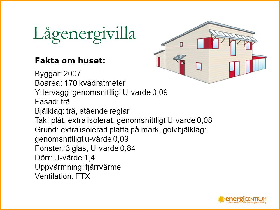 Lågenergivilla Fakta om huset: Byggår: 2007 Boarea: 170 kvadratmeter