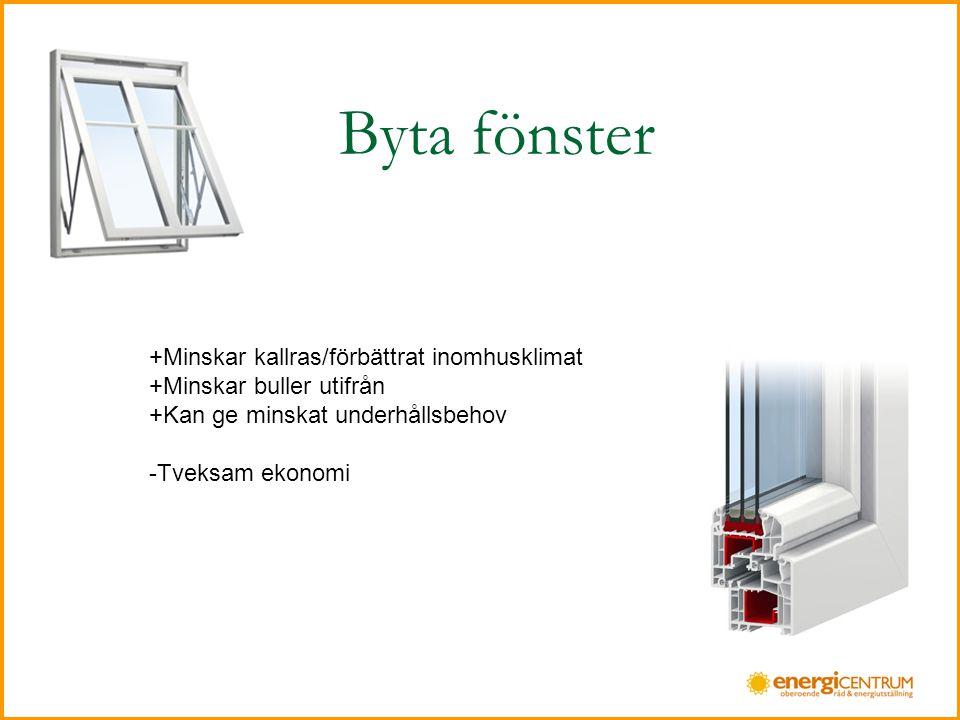 Byta fönster +Minskar kallras/förbättrat inomhusklimat