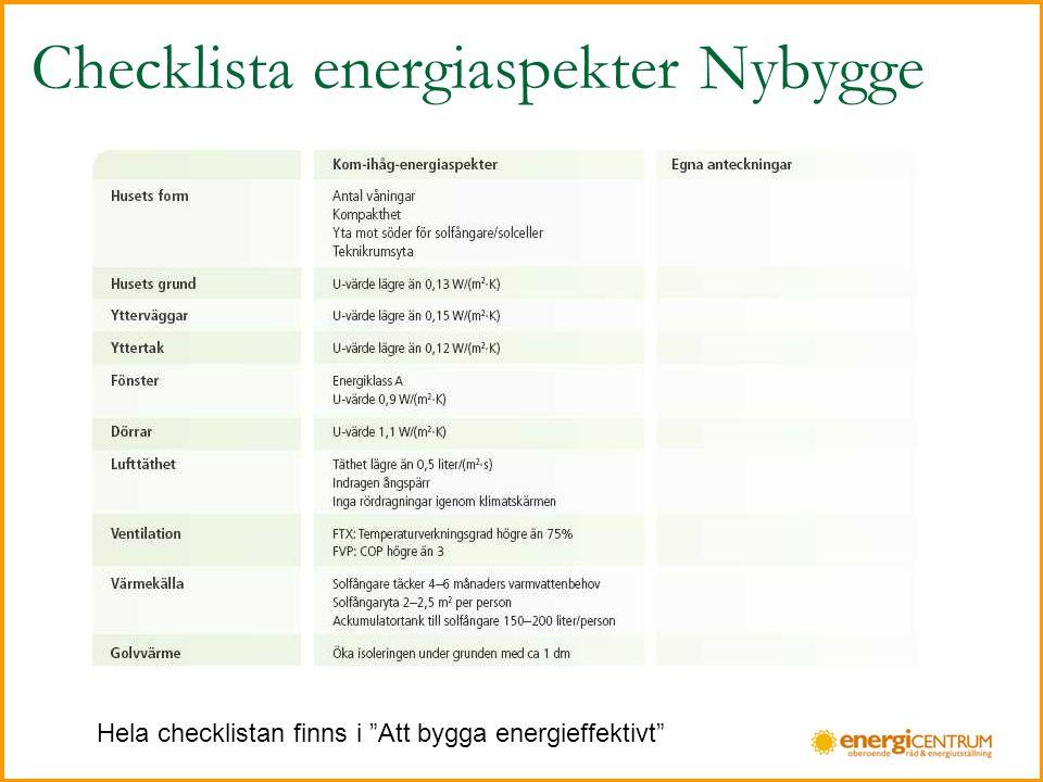 Checklista energiaspekter Nybygge