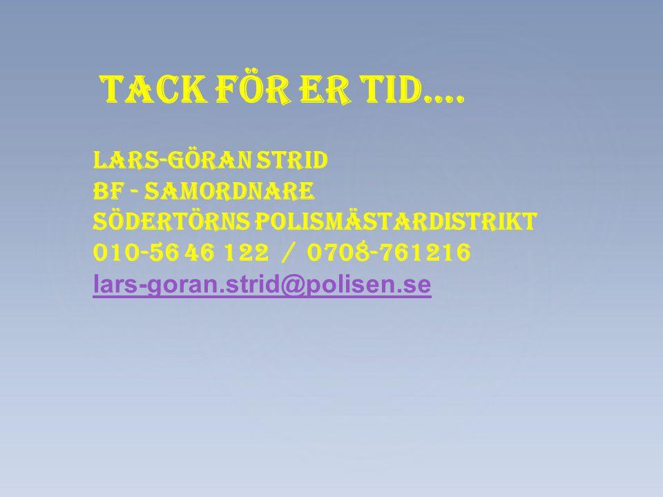 Tack för er tid…. Lars-Göran Strid. Bf - samordnare. Södertörns polismästardistrikt. 010-56 46 122 / 0708-761216.
